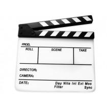 Белая акриловая кинохлопушка с гравировкой Hollywood HB-002 26х32см