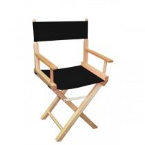 Низкий деревянный режиссерский стул с черной материей MIK L01NNB