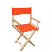 Низкий деревянный режиссерский стул с оранжевой материей MIK L01NNO
