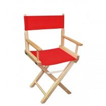 Низкий деревянный режиссерский стул с красной материей MIK L01NNR