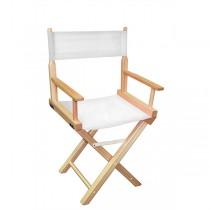 Низкий деревянный режиссерский стул с белой материей MIK L01NNW