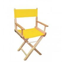 Низкий деревянный режиссерский стул с желтой материей MIK L01NNY