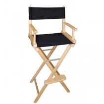 Высокий деревянный режиссерский стул с черной материей L02NB