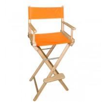 Высокий деревянный режиссерский стул с оранжевой материей L02NO