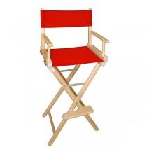 Высокий деревянный режиссерский стул с красной материей L02NR
