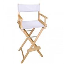 Высокий деревянный режиссерский стул с белой материей L02NBW