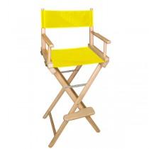 Высокий деревянный режиссерский стул с желтой материей L02NY